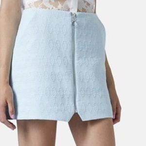 Topshop Blue Quilted Zip Front Skirt